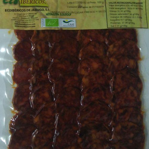 Chorizo-ecológico-ibérico-de bellota-ECOIBÉRICOS-de-jabugo-lonchas-100g