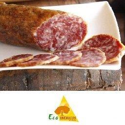 Salchichon-bio-100%-ibérico-de bellota-ECOIBÉRICOS-de-jabugo-lonchas