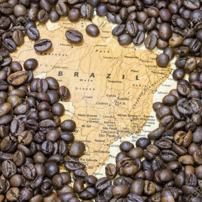 cafe en grano tostado bio sobre mapa de brasil