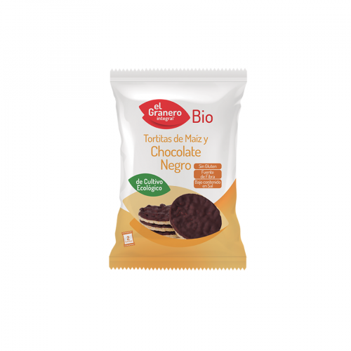 Tortitas ECO de maiz con chocolate negro sin gluten Granero Bio 33g