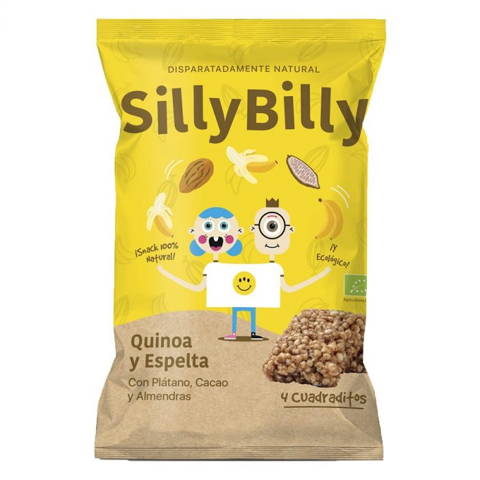 Cuadraditos Plátano_Cacao_Espelta_Quinoa_Bio_24g_SillyBilly